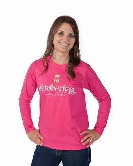 HB Oktoberfest Ladies Long Sleeve Shirt - Hot Pink