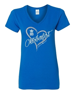 HB Munich Oktoberfest Ladies Heart V-Neck Fitted T-Shirt Royal Blue