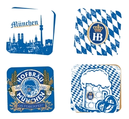 "Oktoberfest Stone Coaster Set  4"" x 4""  With Custom Printed Gift Box"