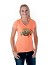 HB Oktoberfest Ladies Barrel V-Neck Fitted T-Shirt - Orange