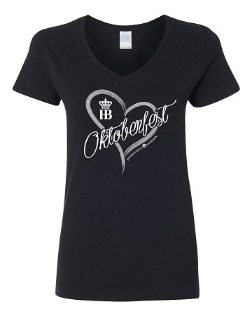 HB Munich Oktoberfest Ladies Heart V-Neck Fitted T-Shirt Black