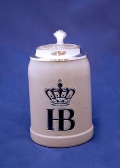 HB Salt Glazed Ceramic Stein with Lid 0.5L
